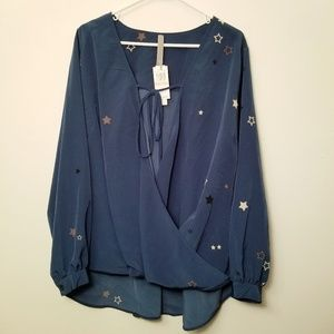 Nwt Melissa McCarthy 3X Blue Long Sleeve Wrap Top